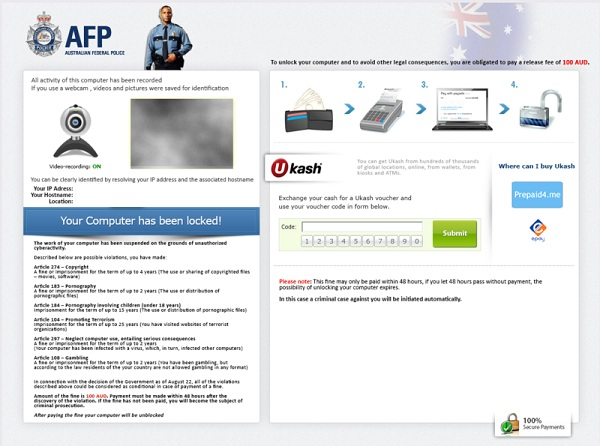 Australian Federal Police Ukash Virus